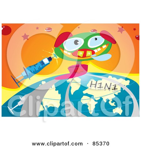 Royalty-Free (RF) Clipart Illustration of a Jack In The Box Pig With A Syringe And H1n1 Flu Globe Over Orange by mayawizard101