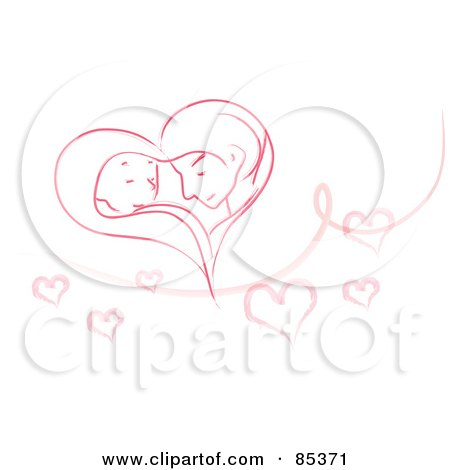 Royalty-Free (RF) Clipart Illustration of a Romantic Couple Forming A Pink Heart Over White With A Swirl And Hearts by mayawizard101