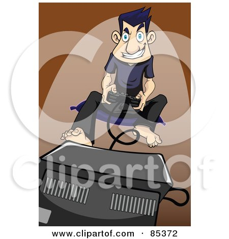 Royalty-Free (RF) Clipart Illustration of an Obsessed Gamer Man Sitting On A Mat In Front Of A Tv And Playing A Game by mayawizard101