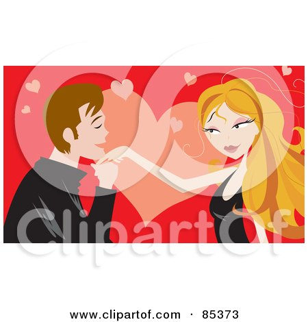 Royalty-Free (RF) Clipart Illustration of a Young Man Kissing A Blond Woman's Hand Over A Red And Pink Heart Background by mayawizard101