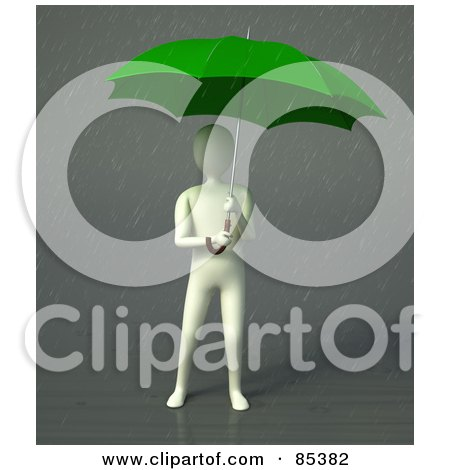 Royalty-Free (RF) Clipart Illustration of a 3d Figure Standing Under A Green Umbrella In The Rain by Mopic