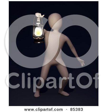 Royalty-Free (RF) Clipart Illustration of a 3d Figure Holding Up A Lamp In Blackness by Mopic