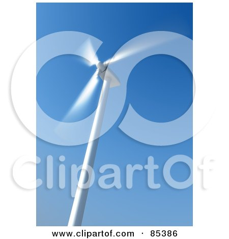 Royalty-Free (RF) Clipart Illustration of a Spinning 3d White Windmill Blurred Against A Blue Sky by Mopic