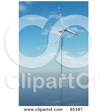 Royalty-Free (RF) Clipart Illustration of a 3d White And Red Windmill In The Middle Of The Sea by Mopic