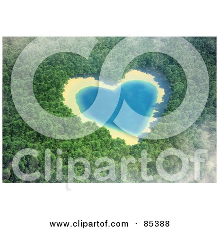 Royalty-Free (RF) Clipart Illustration of a 3d Aerial View Down On A Misty Heart Shaped Lake In The Middle Of A Forest by Mopic