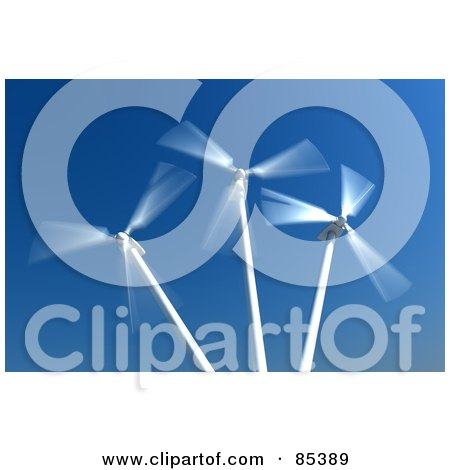 Royalty-Free (RF) Clipart Illustration of 3d White Spinning Windmills Against A Blue Sky by Mopic
