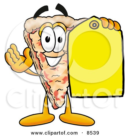Clipart Picture of a Slice of Pizza Mascot Cartoon Character Holding a Yellow Sales Price Tag by Toons4Biz