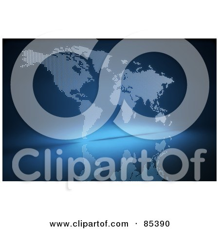 Royalty-Free (RF) Clipart Illustration of an Abstract Dotted White Atlas Over Blue With A Reflection by Mopic