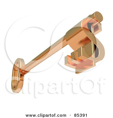 Royalty-Free (RF) Clipart Illustration of a 3d Golden Skeleton Key With A Dollar Symbol Tip by Mopic