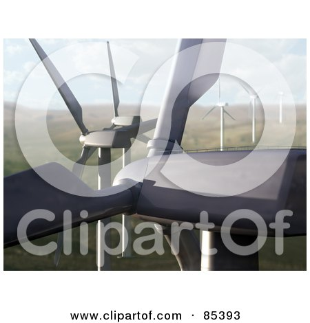 Royalty-Free (RF) Clipart Illustration of a 3d Closeup Of Windmills In A Windfarm Landscape by Mopic