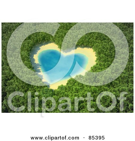 Royalty-Free (RF) Clipart Illustration of a 3d Aerial View Down On A Blue Heart Shaped Lake In The Middle Of A Forest by Mopic