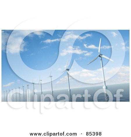 Royalty-Free (RF) Clipart Illustration of a 3d Row Of Windmills In The Sea Under A Cloudy Blue Sky by Mopic