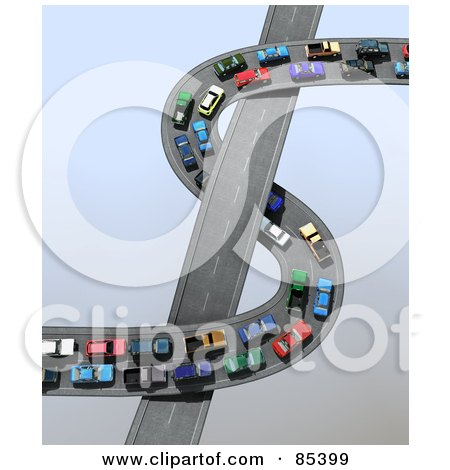 Royalty-Free (RF) Clipart Illustration of a 3d Traffic Jam Of Straight And Curving Highways Forming A Dollar Symbol Over Gray by Mopic