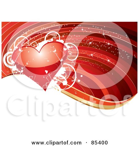 Royalty-Free (RF) Clipart Illustration of a Shiny Red Heart With White Vines And Stars Over A Red Background With A White Wave by MilsiArt