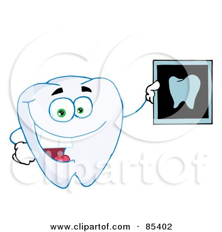 Royalty-Free (RF) Clipart Illustration of a Happy Tooth Holding An Xray by Hit Toon