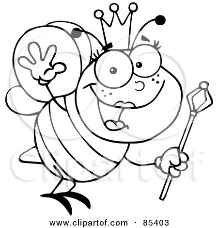 Royalty-Free (RF) Clipart Illustration of an Outlined Friendly Queen Bee by Hit Toon