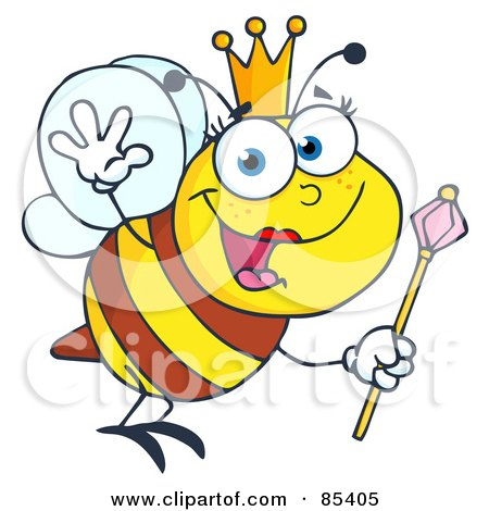 Royalty-Free (RF) Clipart Illustration of a Friendly Queen Bee by Hit Toon