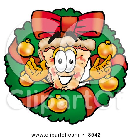 Clipart Picture of a Slice of Pizza Mascot Cartoon Character in the Center of a Christmas Wreath by Toons4Biz