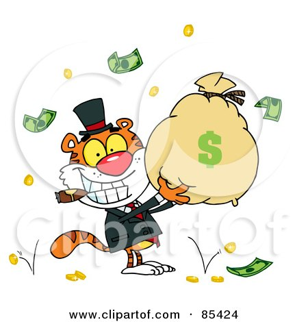 Royalty-Free (RF) Clipart Illustration of a Wealthy Tiger Smoking A Cigar And Holding Up A Bag Of Money by Hit Toon