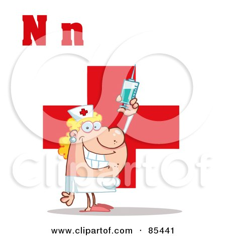 Royalty-Free (RF) Clipart Illustration of a Nurse With Letters N by Hit Toon