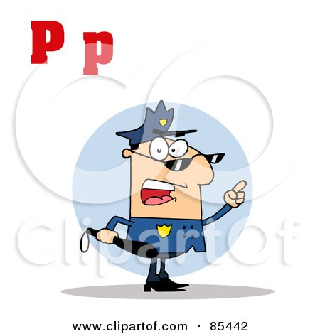 Royalty-Free (RF) Clipart Illustration of a Cop With Letters C by Hit Toon