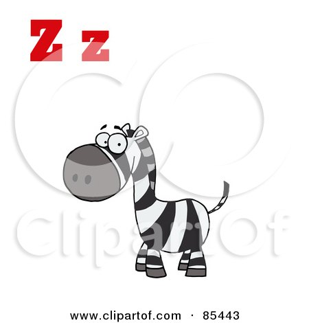Royalty-Free (RF) Clipart Illustration of a Happy Zebra With Letters Z by Hit Toon