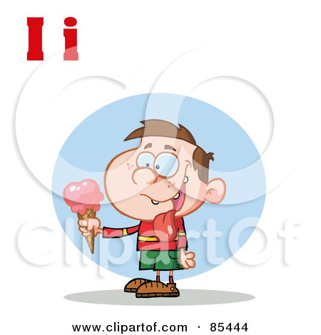 Royalty-Free (RF) Clipart Illustration of a Boy Eating Ice Cream With Letters I by Hit Toon
