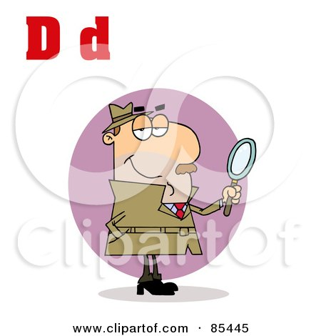 Royalty-Free (RF) Clipart Illustration of a Detective With Letters D by Hit Toon