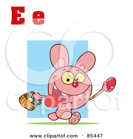 Royalty-Free (RF) Clipart Illustration of an Easter Bunny With Letters E by Hit Toon