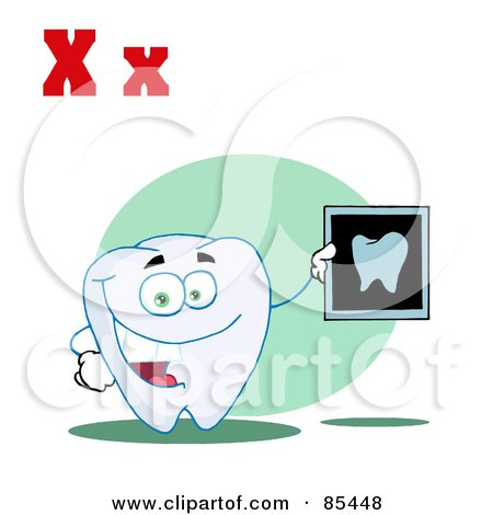 Royalty-Free (RF) Clipart Illustration of a Tooth Holding An Xray With Letters X by Hit Toon