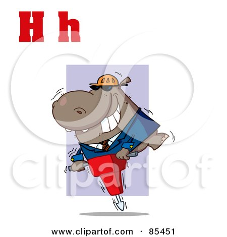 Royalty-Free (RF) Clipart Illustration of a Hippo With Letters H by Hit Toon