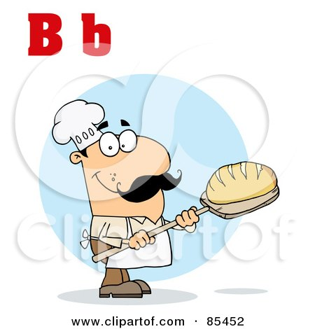Royalty-Free (RF) Clipart Illustration of a Male Baker With Letters B by Hit Toon