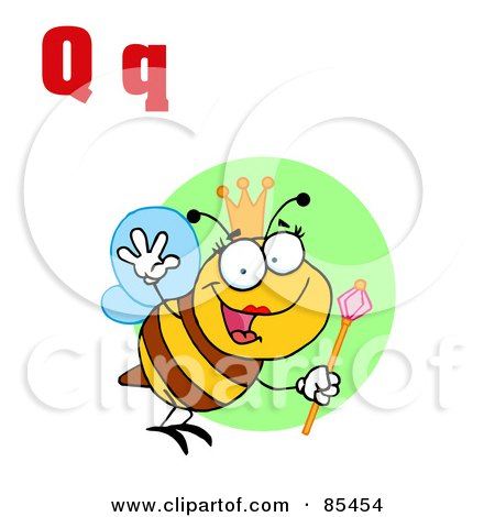 Royalty-Free (RF) Clipart Illustration of a Queen Bee With Letters Q by Hit Toon