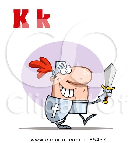 Royalty-Free (RF) Clipart Illustration of a Knight With Letters K by Hit Toon