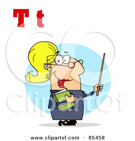 Royalty-Free (RF) Clipart Illustration of a Female Teacher With Letters T by Hit Toon