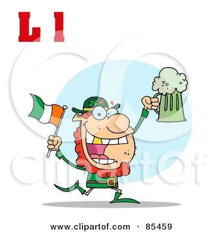Royalty-Free (RF) Clipart Illustration of a Leprechaun With Letters L by Hit Toon