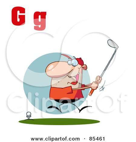 Royalty-Free (RF) Clipart Illustration of a Male Golfer With Letters G by Hit Toon