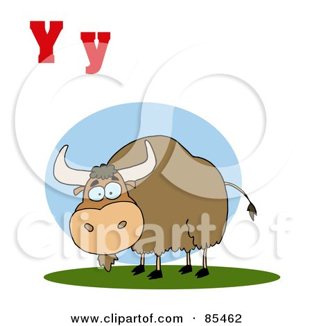 Royalty-Free (RF) Clipart Illustration of a Yak With Letters Y by Hit Toon