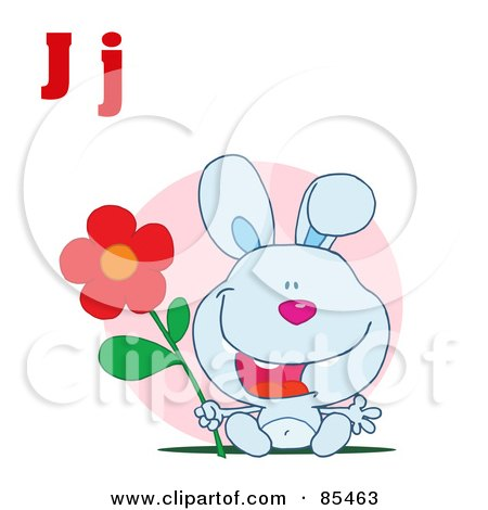Royalty-Free (RF) Clipart Illustration of a Rabbit With Letters J by Hit Toon