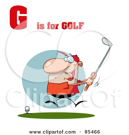 Male Golfer With G Is For Golf Text Posters, Art Prints