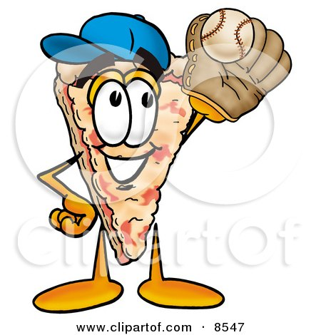 Clipart Picture of a Slice of Pizza Mascot Cartoon Character Catching a Baseball With a Glove by Toons4Biz