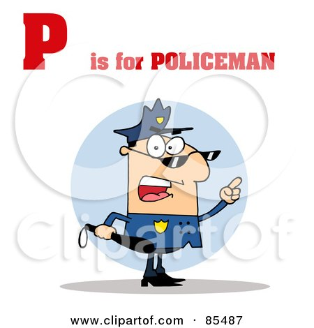 Royalty-Free (RF) Clipart Illustration of a Cop With P Is For Policeman Text by Hit Toon