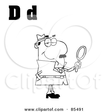 Royalty-Free (RF) Clipart Illustration of an Outlined Detective With Letters D by Hit Toon