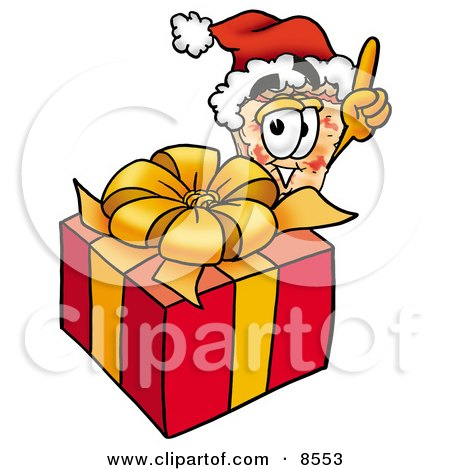 Clipart Picture of a Slice of Pizza Mascot Cartoon Character Standing by a Christmas Present by Toons4Biz