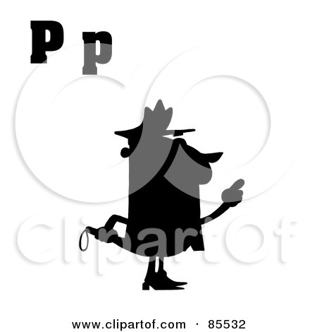 Royalty-Free (RF) Clipart Illustration of a Silhouetted Cop With Letters C by Hit Toon