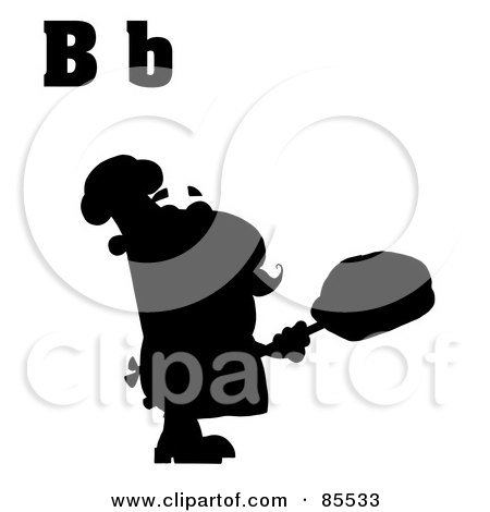 Royalty-Free (RF) Clipart Illustration of a Silhouetted Male Baker With Letters B by Hit Toon