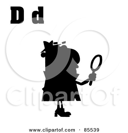 Royalty-Free (RF) Clipart Illustration of a Silhouetted Detective With Letters D by Hit Toon