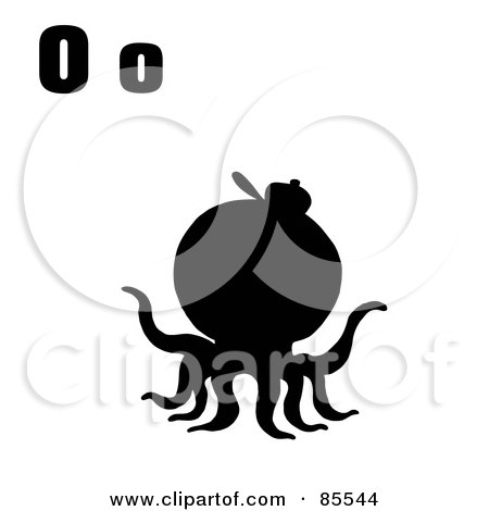 Royalty-Free (RF) Clipart Illustration of a Silhouetted Octopus With Letters O by Hit Toon
