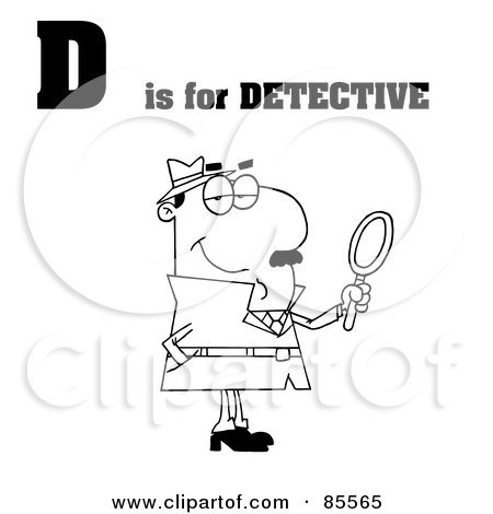 Royalty-Free (RF) Clipart Illustration of an Outlined Detective With D Is For Detective Text by Hit Toon