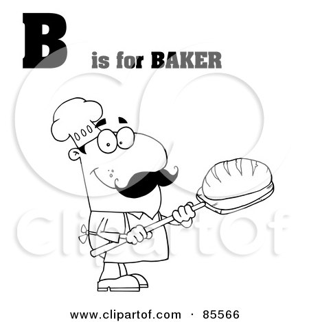 Royalty-Free (RF) Clipart Illustration of an Outlined Male Baker With B Is For Baker Text by Hit Toon